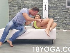 Spinner Teen In Hot Yoga Shorts