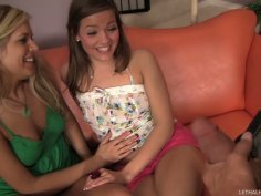 Teen chicks Darcy Tyler and Ashlynn Leigh are fucking Billy Glide in a hot threesome video