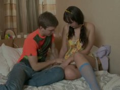 Horny teen brunette Georgia wants to be fingered and fucked by Matthew