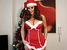 Christmas fun with a big tits brunette