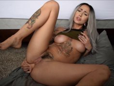 JOI hottie with awesome tattoos toys her love tunnel solo